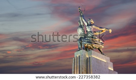 Famous soviet monument Rabochiy i Kolkhoznitsa ( Worker and Kolkhoz Woman or Worker and Collective Farmer) of sculptor Vera Mukhina, Moscow, Russia. Made of in 1937 - stock photo