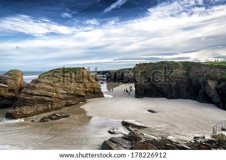 Famous Spanish destination, Cathedrals beach (playa de las catedrales) on Atlantic ocean - stock photo