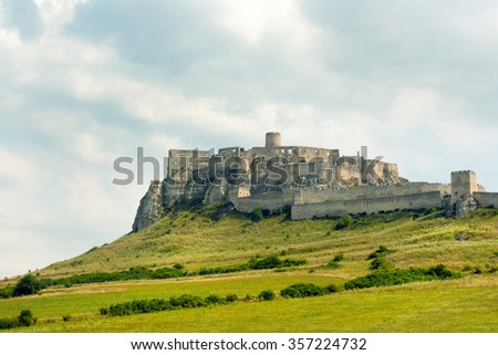 Famous Spis Castle (Spissky Hrad) in Slovakia - stock photo