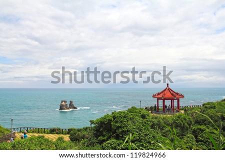 famous spot Twin Candlestick Islets , Taiwan - stock photo