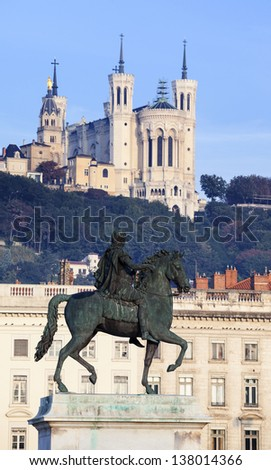 famous statue and Fourviere basilic in Lyon, France - stock photo