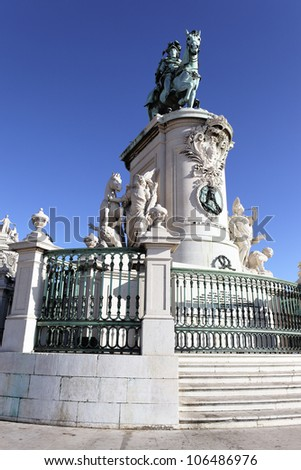 famous statue of commerce square in Lisbon, Portugal - stock photo