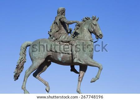 Famous statue of Louis XVI, Lyon, France. - stock photo