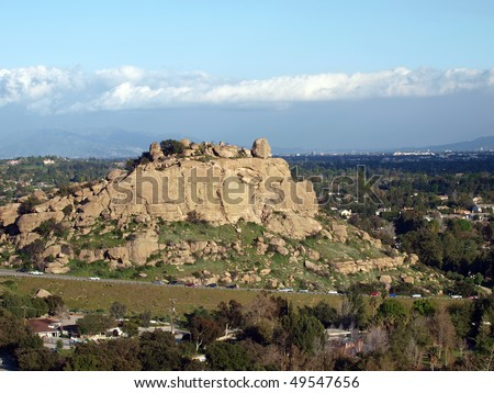 Famous Stoney Point climbing rock in the western San Fernando Valley portion of the City of Los Angeles. - stock photo
