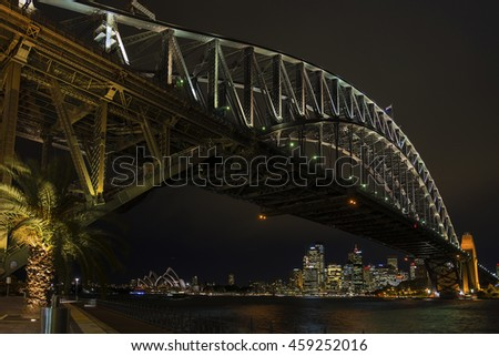 famous sydney harbour bridge and CBD skyline landmarks in australia at night