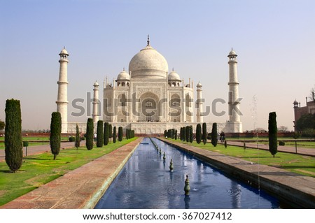 Famous Taj Mahal mausoleum in Agra, India - stock photo