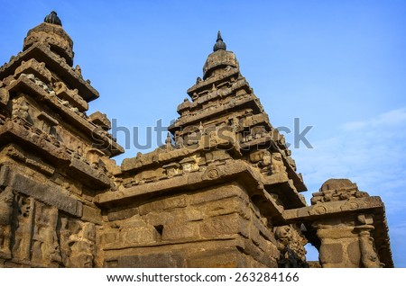 Famous Tamil Nadu landmark - Ancient Shore temple, world  heritage site in  Mahabalipuram, Tamil Nadu, India - stock photo