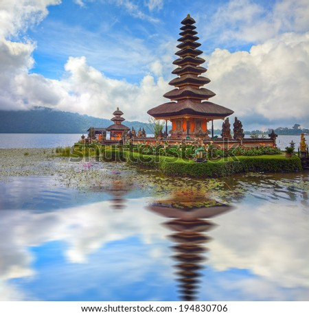 famous temple at beratan lake, Bali, Indonesia - stock photo