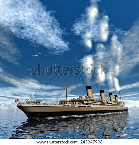 Famous Titanic ship floating among icebergs on the water by cloudy day - 3D render - stock photo