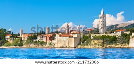 Famous touristic Rab town on Rab island, Croatia, Europe. Rab is a Croatian island in the northern Adriatic Sea. - stock photo
