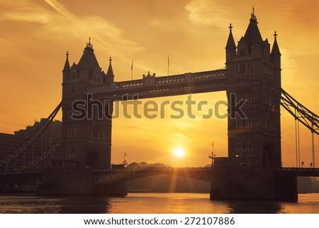 Famous Tower Bridge at sunrise, London. - stock photo