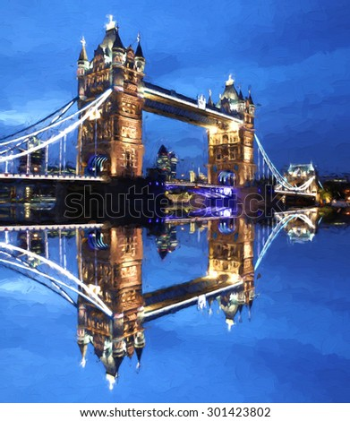 Famous Tower Bridge in Artwork style in London, England - stock photo