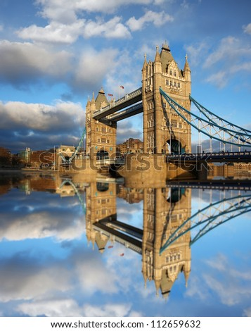 Famous Tower Bridge in beautiful day, London, England - stock photo