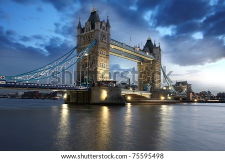 Famous Tower Bridge in evening,  London, UK - stock photo
