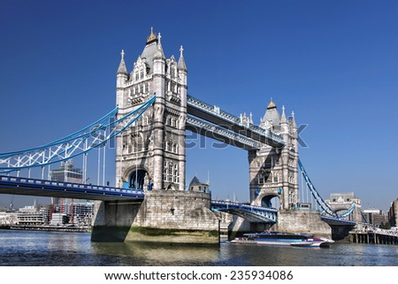 Famous Tower Bridge in London, England - stock photo