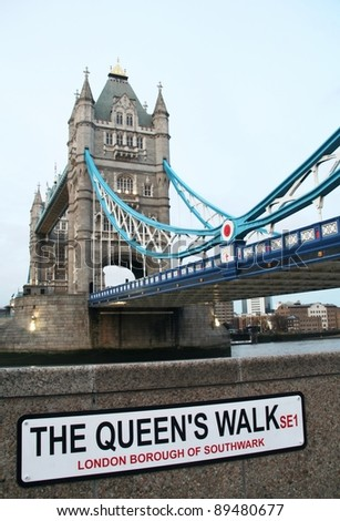 Famous Tower bridge  in London from The Queen's Walkway - stock photo