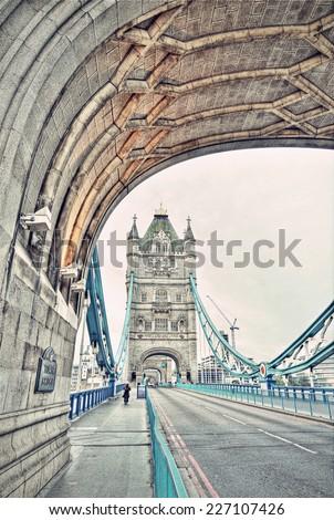 Famous Tower Bridge, London, England, United Kingdom, HDR image, vintage style  - stock photo