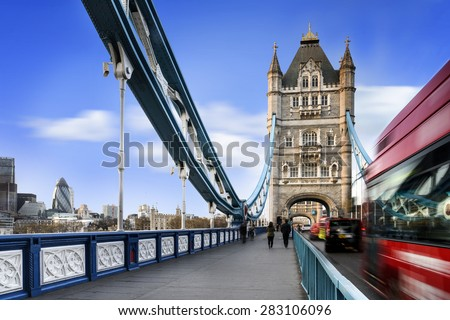 Famous Tower Bridge with traficgame, London, England - stock photo