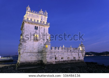 famous Tower of Belem by night. Lisbon, Portugal.