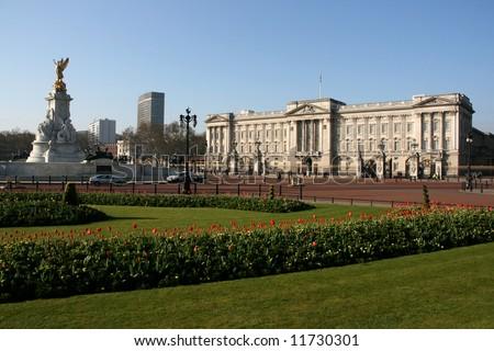 Famous travel destination - Buckingham Palace, the royal seat in London, England. - stock photo