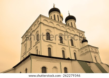 Famous Trinity cathedral in Pskov, Russia in sepia tone - stock photo