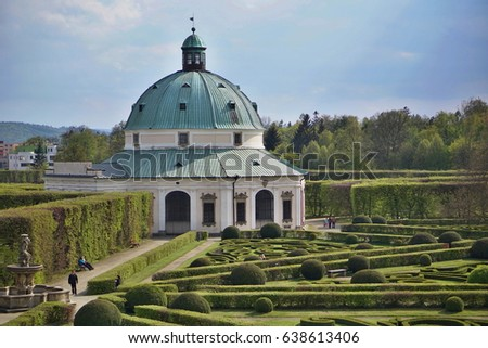 Famous Unesco gardens in Kromeriz town (in Czech Republic) with its green gardens in symmetrical pattern and decorated chateau