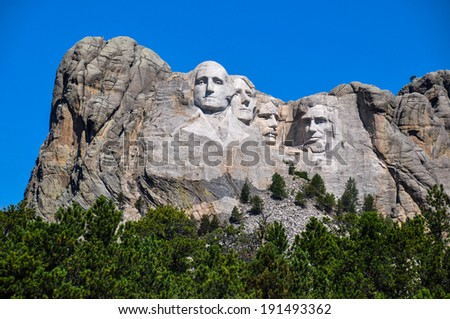 Famous US Presidents on Mount Rushmore National Monument, South  - stock photo