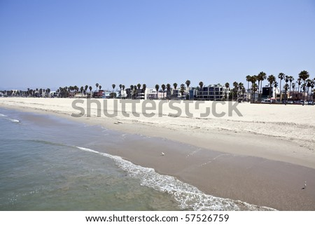 Famous Venice beach California.  Viewed from the fishing pier. - stock photo