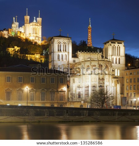 Famous view of Lyon over the Saone river at night - stock photo