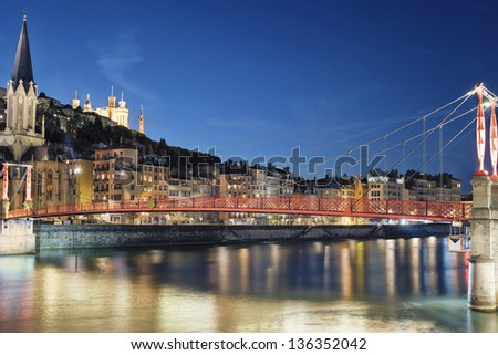 Famous view of river saone at night, Lyon, France - stock photo