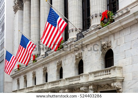 Famous Wall Street in New York City, American Flags , Manhattan, NYC, USA