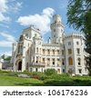Famous white castle Hluboka nad Vltavou Czech Republic - stock photo