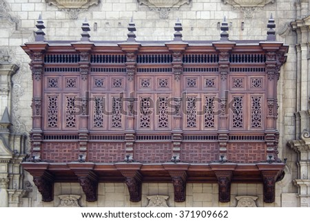 Famous wooden balconies (UNESCO) in Lima, Peru - stock photo