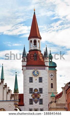 Famous Zodiac Clock Tower on the facade of the old town hall, Marienplatz, Munich - stock photo