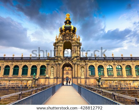 Famous Zwinger palace (Der Dresdner Zwinger) Art Gallery of Dresden. Colorful spring scene in Dresden, Saxony, Germany, Europe. Artistic style post processed photo. - stock photo