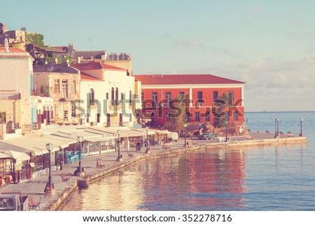 famouse venetian harbour waterfront of Chania old town, Crete, Greece, retro toned - stock photo