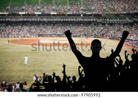 Fan celebrating a victory at a championship baseball game. - stock photo