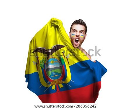 Fan holding the flag of Ecuador on white background - stock photo