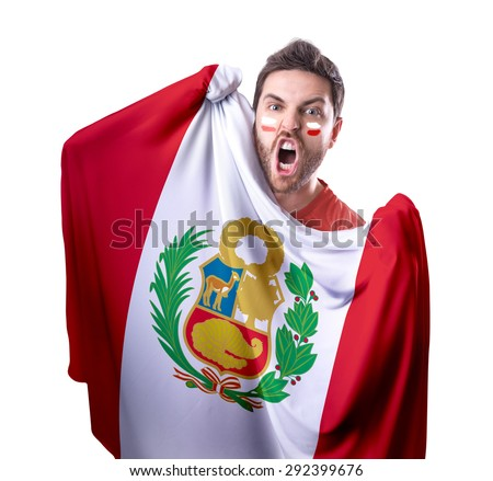 Fan holding the flag of Peru on white background - stock photo