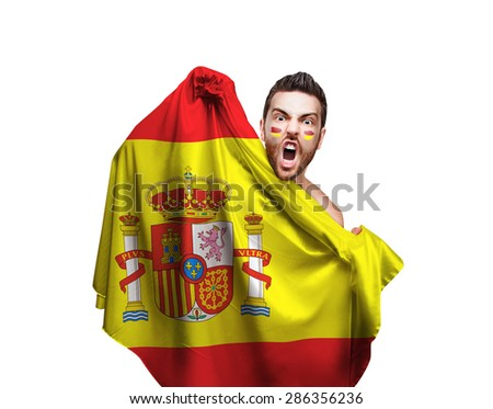 Fan holding the flag of Spain on white background