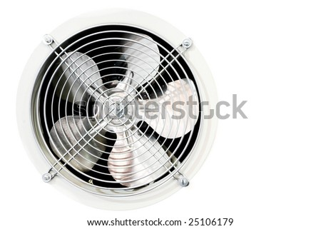 Fan in refrigerator on white - stock photo