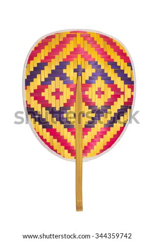 Fan made from bamboo(thai native) isolated on white background. - stock photo