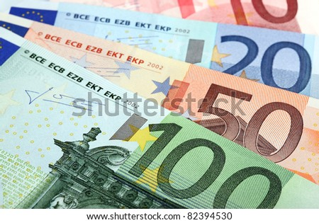 Fan made of euro banknotes - stock photo