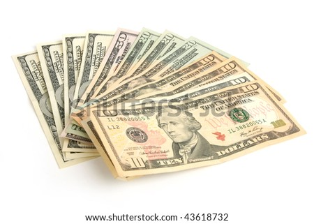 Fan of dollars on white background - stock photo