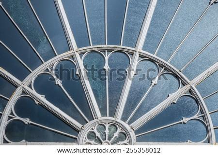 Fan-shaped cast iron window of the Buxton Midland Railway designed by Joseph Paxton. - stock photo