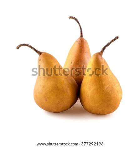 Fancy arrangement of pears studio isolated on white - stock photo