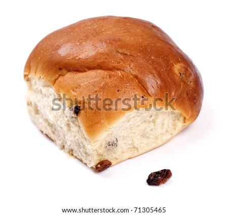 fancy bread with raisins isolated on white - stock photo