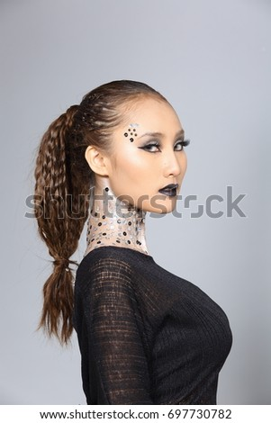 Black dress hair and makeup lighting