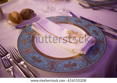 Fancy dinner place setting for parties Blue and gold plates Proper etiquette for the & Fancy Dinner Place Setting Parties Blue Stock Photo u0026 Image (Royalty ...