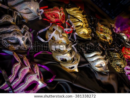 Fancy Dress Costume Party Masks. Masquerade Ball Mask - stock photo